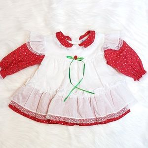 Vintage Girl Dress Christmas Holiday Lace Ruffles